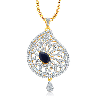 Pissara Attractive Gold And Rhodium Plated CZ Pendant Set For Women-1