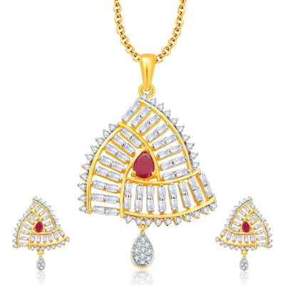 Pissara Beguiling Gold And Rhodium Plated Ruby CZ Pendant Set For Women