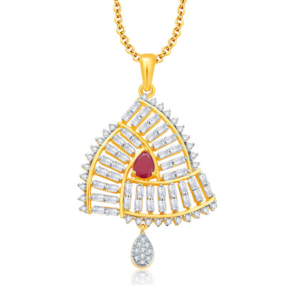 Pissara Beguiling Gold And Rhodium Plated Ruby CZ Pendant Set For Women-1