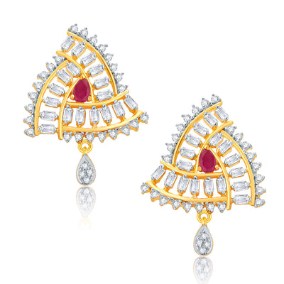 Pissara Beguiling Gold And Rhodium Plated Ruby CZ Pendant Set For Women-2