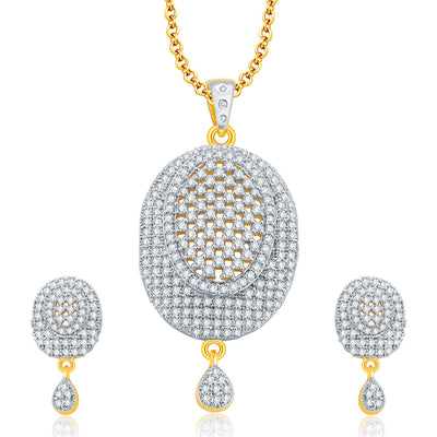 Pissara Trendy Gold And Rhodium Plated CZ Pendant Set For Women