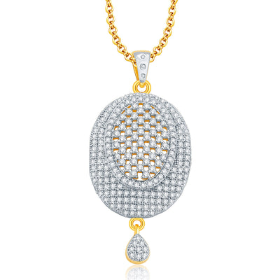 Pissara Trendy Gold And Rhodium Plated CZ Pendant Set For Women-1