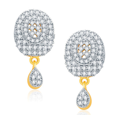 Pissara Trendy Gold And Rhodium Plated CZ Pendant Set For Women-2