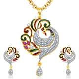 0046 Pissara Sensational Peacock Gold And Rhodium Plated Ruby CZ Necklace Set For Women