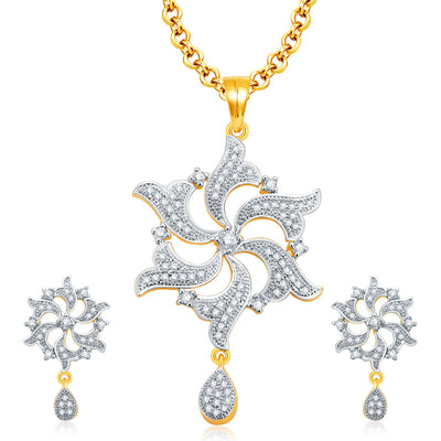 Pissara Amazing Gold And Rhodium Plated CZ Pendant Set For Women