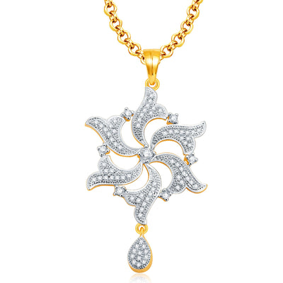 Pissara Amazing Gold And Rhodium Plated CZ Pendant Set For Women-1