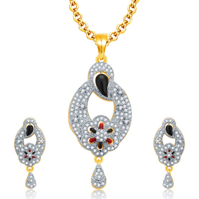 Pissara Alluring Gold And Rhodium Plated CZ Pendant Set For Women
