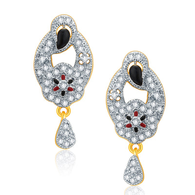 Pissara Alluring Gold And Rhodium Plated CZ Pendant Set For Women-2