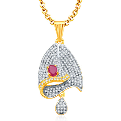 Pissara Enthralling Gold And Rhodium Plated Ruby CZ Pendant Set For Women-1