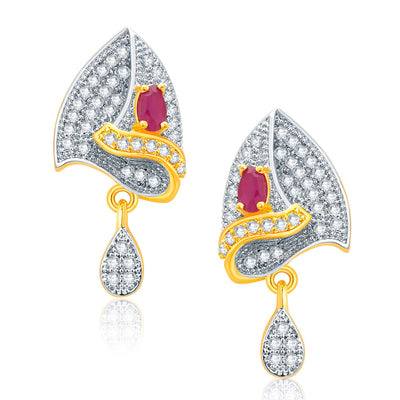 Pissara Enthralling Gold And Rhodium Plated Ruby CZ Pendant Set For Women-2