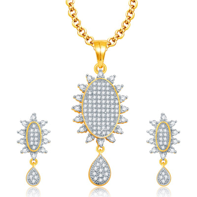 Pissara Memorable Gold And Rhodium Plated CZ Pendant Set For Women