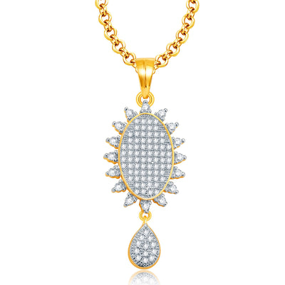 Pissara Memorable Gold And Rhodium Plated CZ Pendant Set For Women-1