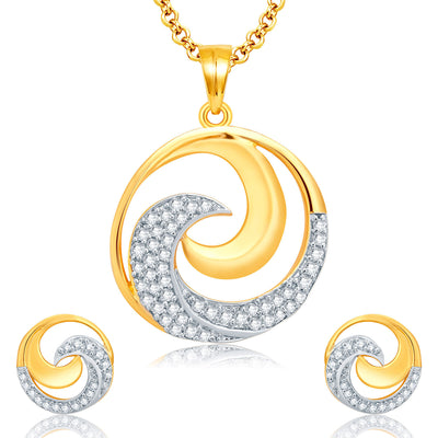 Pissara Harmonious Gold And Rhodium Plated CZ Pendant Set For Women