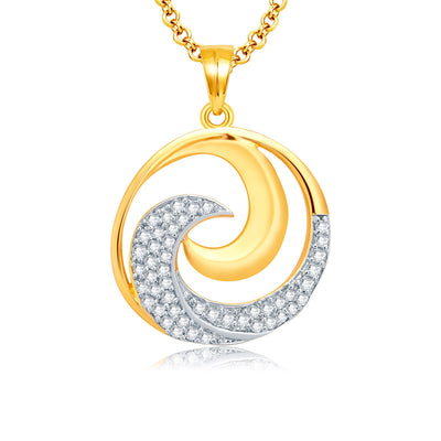 Pissara Harmonious Gold And Rhodium Plated CZ Pendant Set For Women-1
