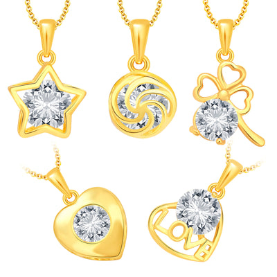 Pissara Trendy Heart Gold Plated CZ Set of 5 Pendant Combo For Women