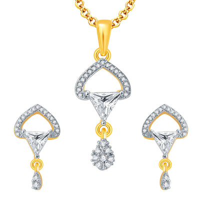 Pissara Passionate Gold And Rhodium Plated CZ Pendant Set For Women