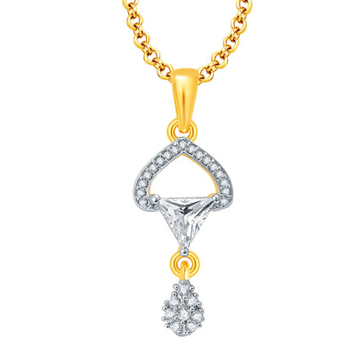 Pissara Passionate Gold And Rhodium Plated CZ Pendant Set For Women-1