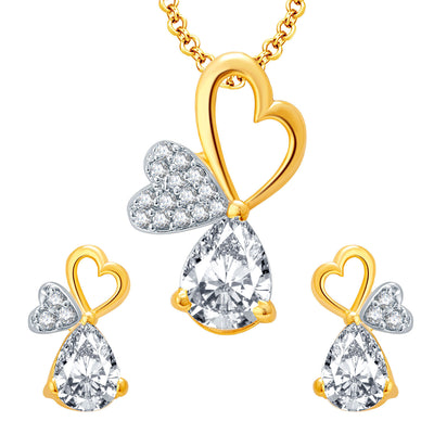 Pissara Hearty Gold And Rhodium Plated CZ Pendant Set For Women