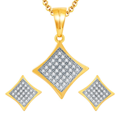 Pissara Breathtaking Gold And Rhodium Plated CZ Pendant Set For Women