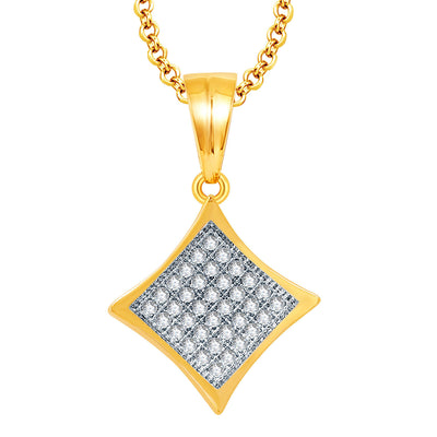 Pissara Breathtaking Gold And Rhodium Plated CZ Pendant Set For Women-1