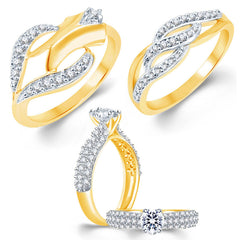 Sukkhi Exotic Gold Plated CZ Set of 3 Ladies Ring Combo For Women