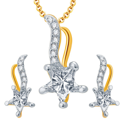 Pissara Sublime Gold And Rhodium Plated CZ Pendant Set For Women