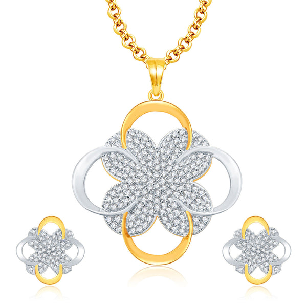 Pissara Cheerful Gold And Rhodium Plated CZ Pendant For Women