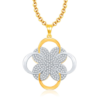 Pissara Cheerful Gold And Rhodium Plated CZ Pendant For Women-1