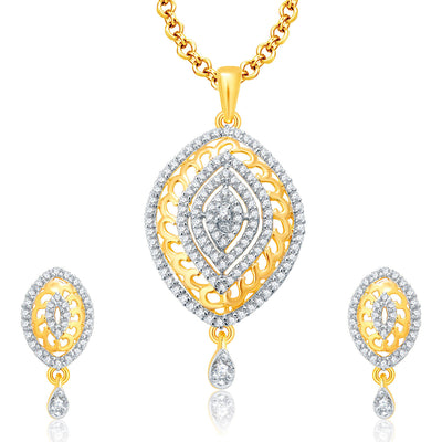 Pissara Joyous Gold And Rhodium Plated CZ Pendant Set For Women