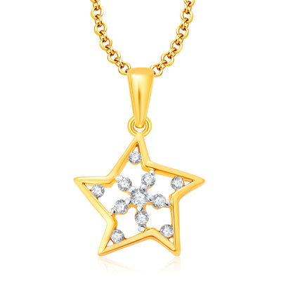 Pissara Twilight Gold And Rhodium Plated CZ Pendant Set For Women-1
