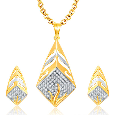 Pissara Precious Gold And Rhodium Plated CZ Pendant Set For Women
