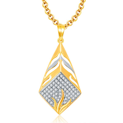Pissara Precious Gold And Rhodium Plated CZ Pendant Set For Women-1