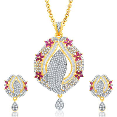 Pissara Precious Gold And Rhodium Plated Ruby CZ Pendant Set For Women