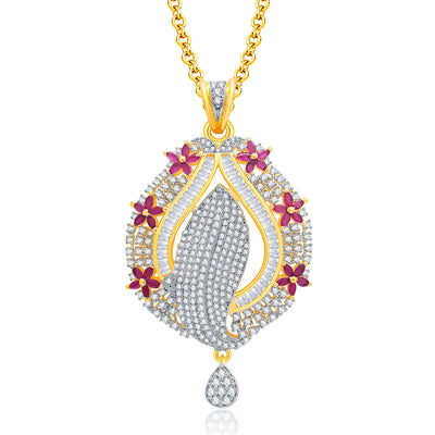 Pissara Precious Gold And Rhodium Plated Ruby CZ Pendant Set For Women-1