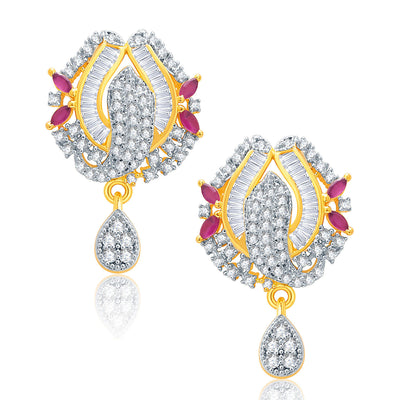 Pissara Precious Gold And Rhodium Plated Ruby CZ Pendant Set For Women-2