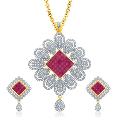 Pissara Delight Gold And Rhodium Plated Ruby CZ Pendant Set For Women