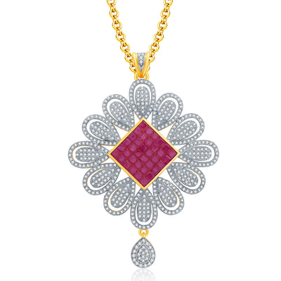 Pissara Delight Gold And Rhodium Plated Ruby CZ Pendant Set For Women-1