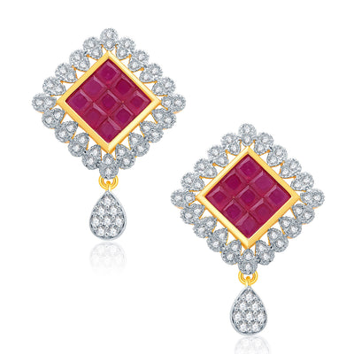 Pissara Delight Gold And Rhodium Plated Ruby CZ Pendant Set For Women-2