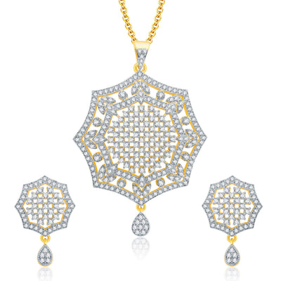 Pissara Soothing Gold And Rhodium Plated CZ Pendant Set For Women