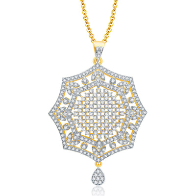 Pissara Soothing Gold And Rhodium Plated CZ Pendant Set For Women-1