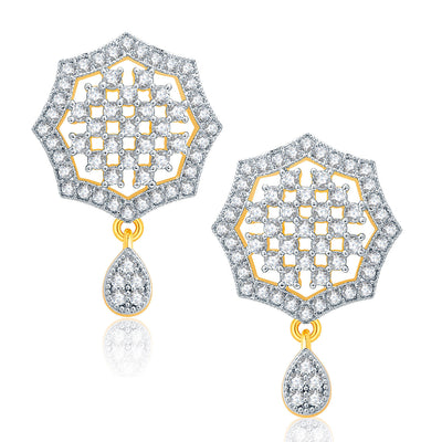 Pissara Soothing Gold And Rhodium Plated CZ Pendant Set For Women-2