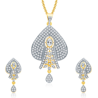 Pissara Dashing Gold And Rhodium Plated CZ Pendant Set For Women