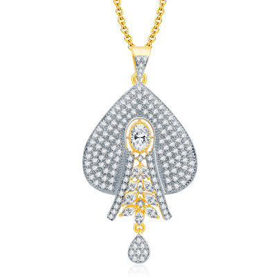 Pissara Dashing Gold And Rhodium Plated CZ Pendant Set For Women-1
