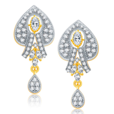 Pissara Dashing Gold And Rhodium Plated CZ Pendant Set For Women-2