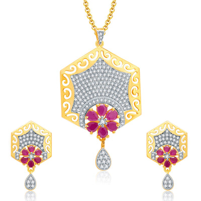 Pissara Sparkly Gold And Rhodium Plated Ruby CZ Pendant Set For Women