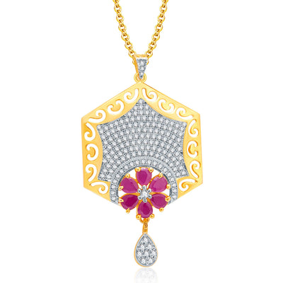 Pissara Sparkly Gold And Rhodium Plated Ruby CZ Pendant Set For Women-1