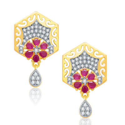 Pissara Sparkly Gold And Rhodium Plated Ruby CZ Pendant Set For Women-2