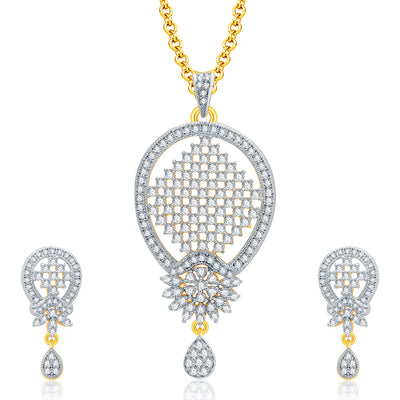 Pissara Harmony Gold And Rhodium Plated CZ Pendant Set For Women