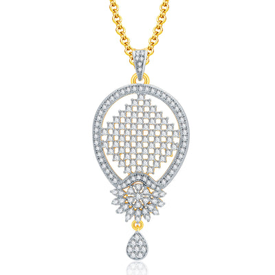 Pissara Harmony Gold And Rhodium Plated CZ Pendant Set For Women-1