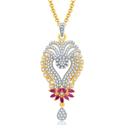 Pissara Glittery Gold And Rhodium Plated Ruby CZ Pendant Set For Women-1